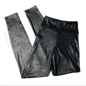 H&M Black Pebbled Faux Leather Moto Legging XS
